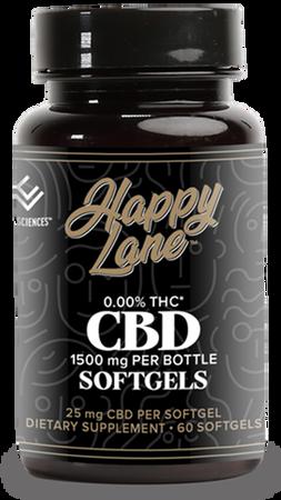 Happy Lane CBD Softgel Capsules 60ct 25mg 0.00% THC